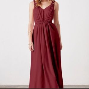 Burgundy Flowy Bridesmaid Dress